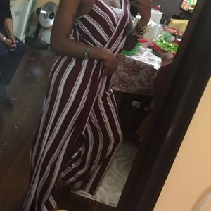 Burgundy and white jumpsuit